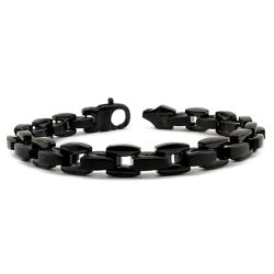 Black-plated Stainless Steel Men's Link Bracelet