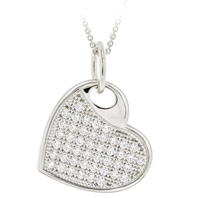 Icz Stonez Sterling Silver Micro Pave Cubic Zirconia Heart Necklace