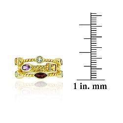 Glitzy Rocks 18k Gold over Sterling Silver 3-row Multi-gemstone Ring