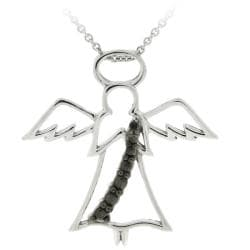 DB Designs Sterling Silver Black Diamond Accent Angel Necklace