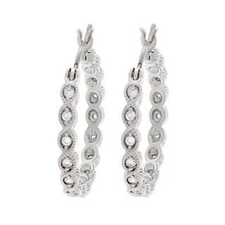 NEXTE Jewelry Silvertone Infinity Designed Cubic Zirconia Serrated Hoop Earrings