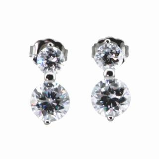 NEXTE Jewelry Silvertone Double Solitaire Cubic Zirconia Stud Earrings