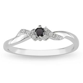 Haylee Jewels 10k Gold 1/10ct TDW Black/ White Diamond Ring (G-H, I2-I3)