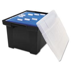 Storex Plastic File Tote with Snap-on Lid