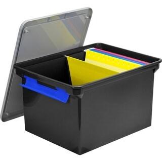 Storex Storage File Tote with Locking Handles, Black/Silver