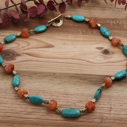 Silverplated 'No Greater Love' Turquoise and Carnelian Necklace