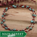 Silverplated Rain Dance Coral and Turquoise Necklace