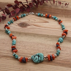 Silverplated Dancing Waters Amethyst/ Turquoise/ Orange Jade Necklace