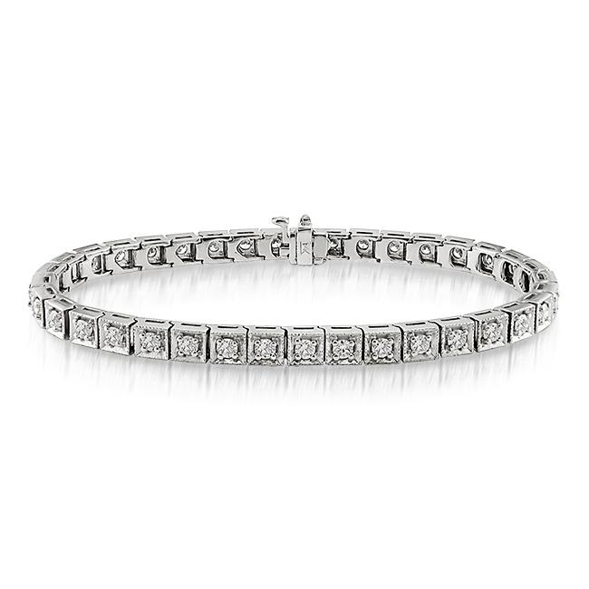 Miadora 14k White Gold 2 5/8ct TDW Diamond Tennis Bracelet (G-H, SI1-SI2)