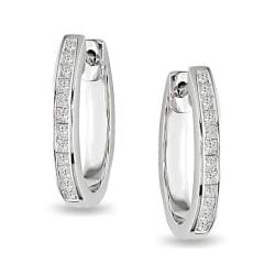 Miadora 14k White Gold 1ct TDW Diamond Hoop Earrings (G-H, I1-I2)