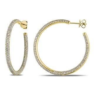 Miadora 14k Yellow Gold 2 1/2ct TDW Diamond Hoop Earrings (G-H, SI1-SI2)