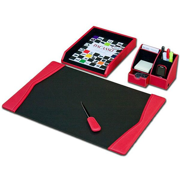 Dacasso Red Leather 4-piece Desk Set