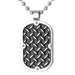 West Coast Jewelry Stainless Steel Diamond Plate Pattern Dog Tag Necklace