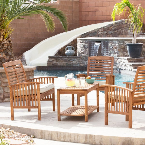 safavieh outdoor living ozark brown yellow acacia 4 piece patio set