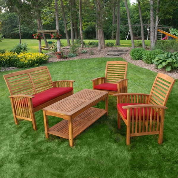 acacia wood 4 piece patio set overstock shopping big discounts