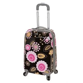 Rockland Vision 20-inch Hardside Black/ Pink Flower Carry-on Upright