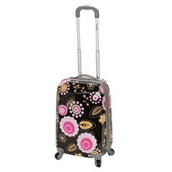 Rockland Vision 20-inch Hardside Black/ Pink Flower Carry-on Upright