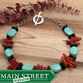Silverplated 'Colors of the Caribbean' Turquoise and Onyx Necklace