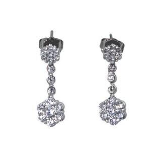 NEXTE Jewelry Silvertone Cubic Zirconia Flower Motif Dangle Earrings