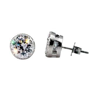 NEXTE Jewelry Silvertone Cubic Zirconia Large Serrated Stud Earrings