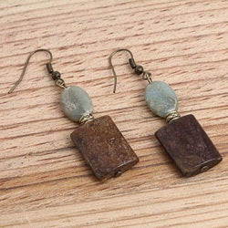 Goldplated Golden Dream Bronzite and African Blue Opal Earrings