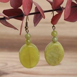 Antique Brassplated Pear Orchard Jade Earrings