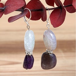 Silverplated Lucy in the Sky Agate and Amethyst Earrings