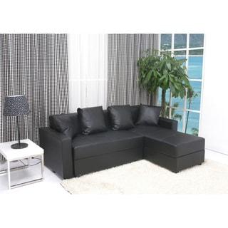 San Jose Black Convertible Sectional Storage Sofa Bed