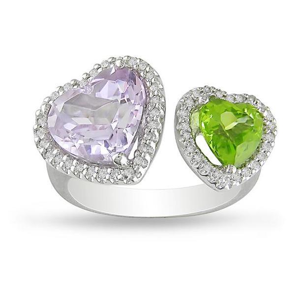 Miadora 14k White Gold Multi-gemstone and 1/5ct TDW Diamond Ring (H-I, I1-I2)