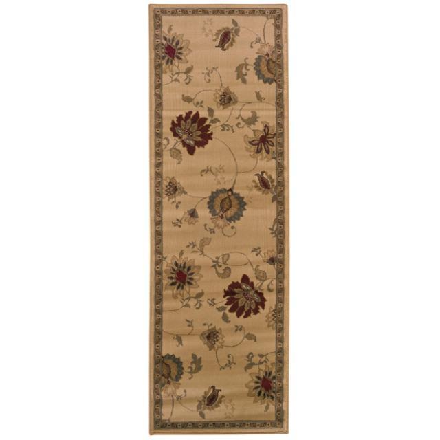 Indoor Beige Floral Rug (2'6 x 7'9)