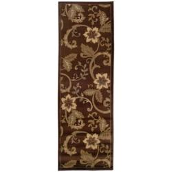 "Indoor Casual Brown Floral Rug (2'6"" x 7'9"")"
