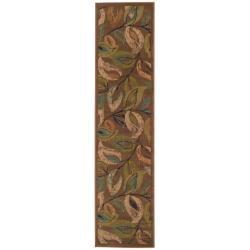 Indoor Brown Abstract Runner Rug (1'10 x 7'6)
