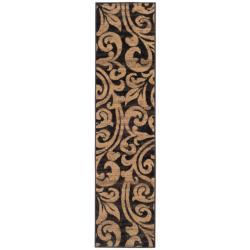 Indoor Black/Brown Abstract Rug (1'10 x 7'6)