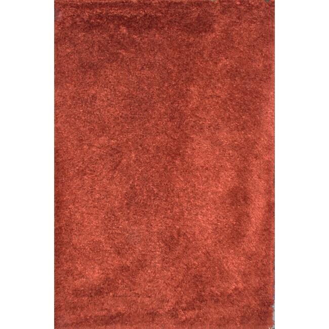 Hand-Made New Zealand Wool Rust Shag Rug (5 'x 8')