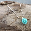 Sterling Silver Forever a Turquoise Rose Necklace (Israel)
