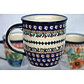 Z.C Boleslawiec Stoneware 12-oz Blue and Cream Floral Mug (Poland)
