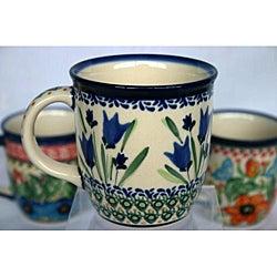 Z.C Boleslawiec Stoneware 12-oz Blue Flower Mug (Poland)