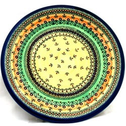 Ceramic Stoneware Green and Orange 10.75-inch Dinner Plate (Poland)