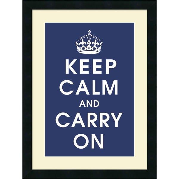 Vintage Repro 'Keep Calm (navy)' Framed Art Print