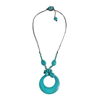 Reconstructed Turquoise Stone Drop Necklace (Thailand)