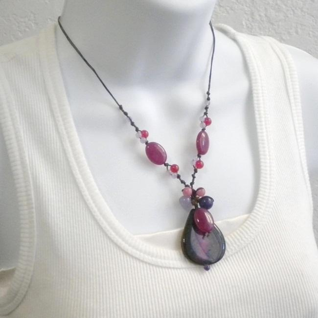 Purple Agate Stone Teardrop Necklace (Thailand)