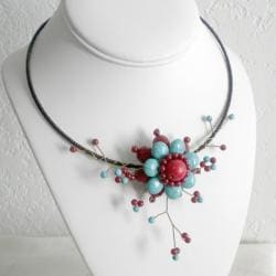 Cotton Rope Floral Ray Red Coral/ Turquoise Flower Choker (Thailand)