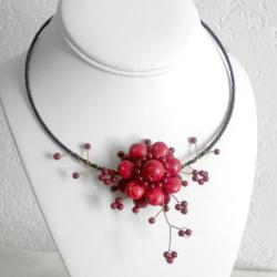 Cotton Rope Floral Ray Red Coral Flower Choker (Thailand)