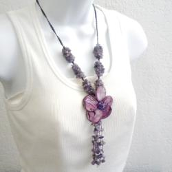 Cotton Purple Shell Flower and Amethyst Tassel Drop Necklace (Thailand)