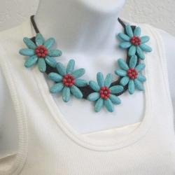 Cotton Rope Turquoise and Red Coral Flower Necklace (Thailand)