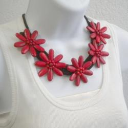Cotton Rope Red Coral Flower Necklace (Thailand)
