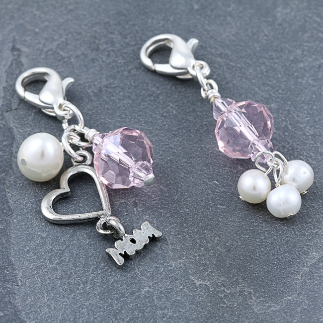 Overstock.com Fashion Forward Silver 'Mom' Pearl Charms (4-9 mm) (Set of 2) at Sears.com