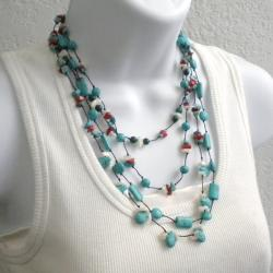 Cotton Rope Chic Multi-gemstone Layered Necklace (Thailand)