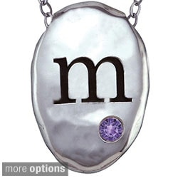 Chroma Sterling Silver Created Amethyst Birthstone Initial Necklace Made with SWAROVSKI GEMS