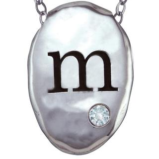 Chroma Silver Created CZ April Birthstone Initial Necklace Made with SWAROVSKI GEMS